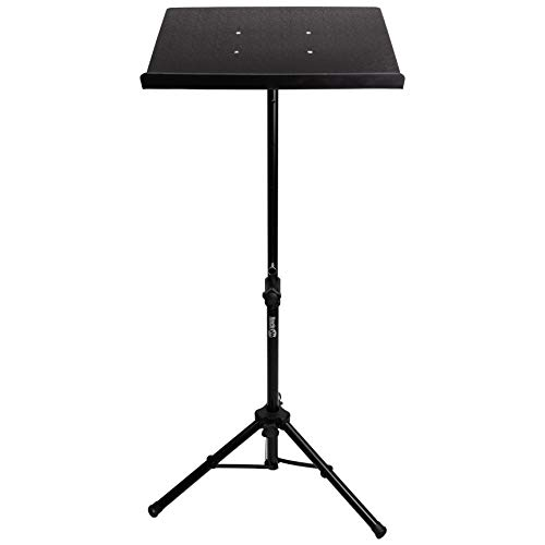 "RockJam Tripod Laptop Stand, Projector Stand, & DJ Rack. 20"" x 16"" Plate & Adjustable Height 25"" to 44"""