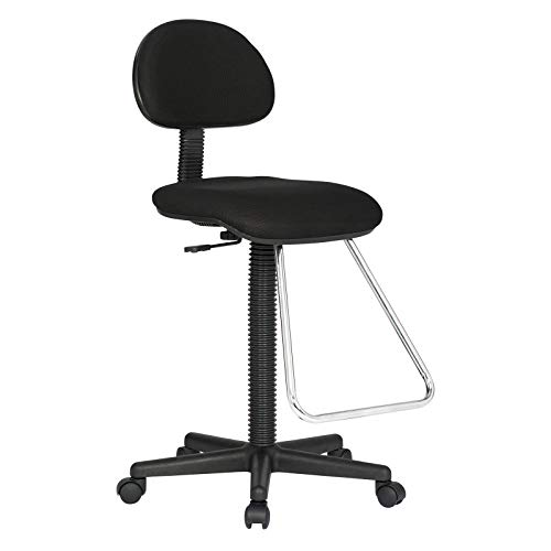 Black Height Adjustable Seat Drafting Stool Office Chair w/Chrome Teardrop Footrest with Ebook