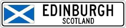 U255uy Edinburgh 10,2 x 45,7 cm Metallschild Schottland Flagge Stadt Schild