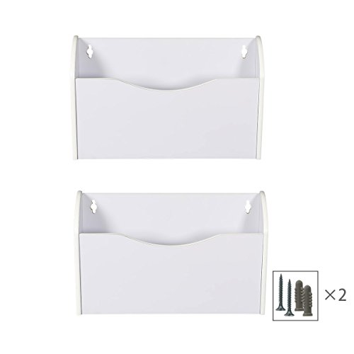 Single Wall Mount Wood - PAG 2 Pockets Hanging Wall File Holder Wall Mount Mail Organizer, White