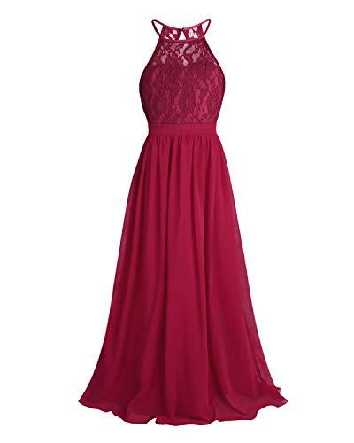 CHICTRY Kids Girls Halter Neck Chiffon Long Party Junior Wedding Evening Prom Maxi Gown Dress Burgundy -