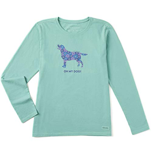 Life is Good Womens Long Sleeve Graphic T-Shirt Crusher Collection,Oh My Dog!,Aqua Blue,Large Dog Long Sleeve Tee