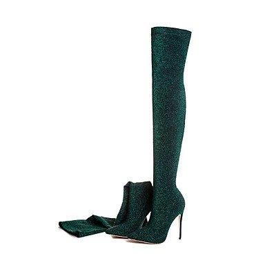 Gladiator Botas Mujer Otoño Invierno Lycra Oficina informal &Carrera parte &vestido de noche Gladiator Stiletto HeelBlue Ruby verde Green