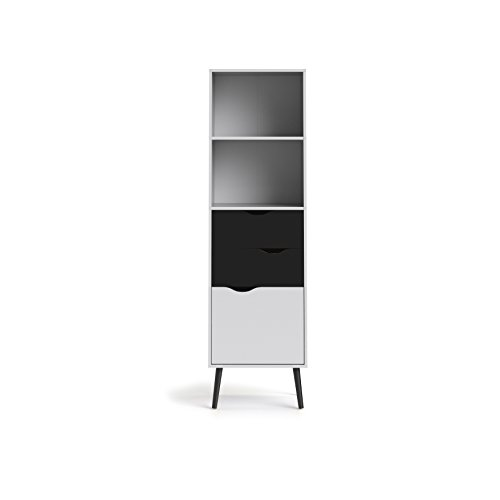 (Tvilum 7538249gm Diana Bookcase with 2 Drawer and 1 Door, White/Black Matte)