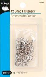 Dritz Bulk Buy Gripper Snaps 3/8 inch 15 Pack Nickel 115-65 (6-Pack) by Dritz