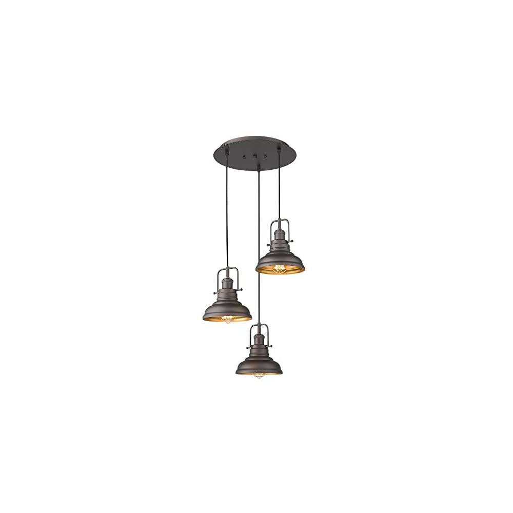 Zeyu 3-Light Pendant Light, Industrial Farmhouse Hanging Light for Kitchen Dining Room, Oil Rubbed Bronze Finish with…