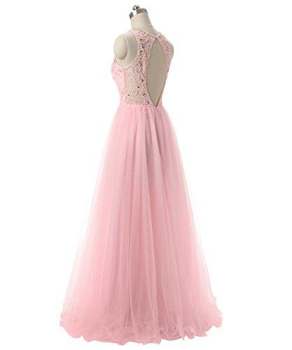 Robes De Bal Callmelady De Perles De Tulle Robe De Soirée Longue Pour Les Femmes Lumière Formelle Rose