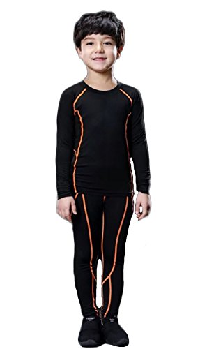 LANBAOSI Boys & Girls Long Sleeve Compression Shirts and Pant 2 Pcs Set, Orange Line, 7, 24/130