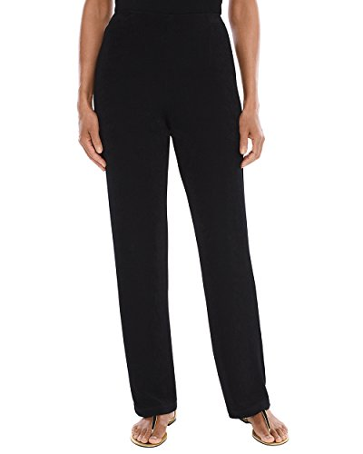 Straight Leg Wool Trousers - Chico's Women's Travelers Classic No Tummy Pants Size 4P/6P S (0P) Black