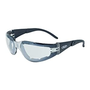 Global Vision Eyewear Rider Plus Safety Glasses with EVA Foam, Clear Mirror Lens