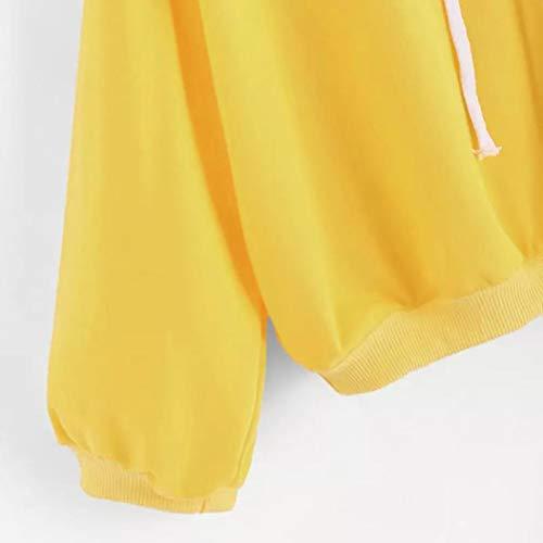 Hiver Sweat Femmes Solide Fille Tops Blouse Automne Pull BaZhaHei Outwear Jaune Capuche À ETEqFUxw
