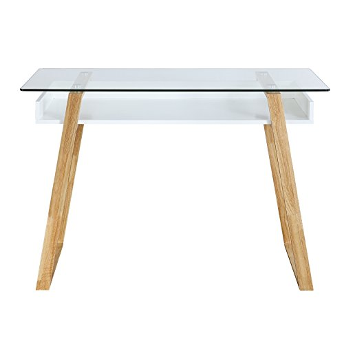 Poly and Bark Segovia Glass Top Desk - Bark Glass