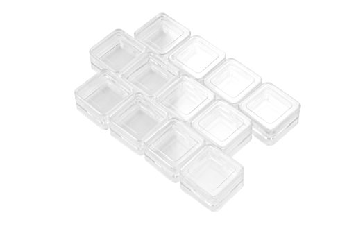 SE 8741BB 12 Stackable Square Plastic Containers, Clear