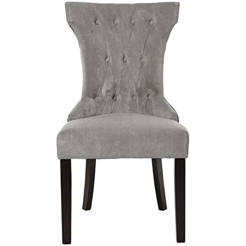 (Red Hook Furniture Mitros Tufted Upholstered Armless Dining Chair, Pewter Grey, Set of 2)