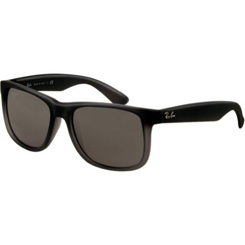 Ray-Ban Men's Justin Non-Polarized Iridium Rectangular Sunglasses, Rubber Grey/Grey Transp. , 54 - Ban Grey Ray