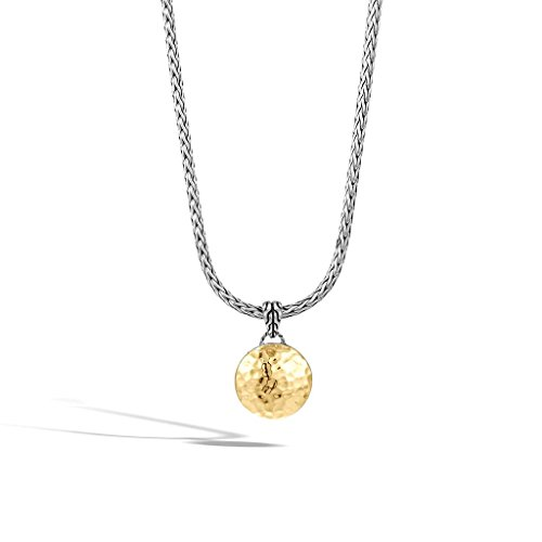 John Hardy Collection - John Hardy WOMEN's Dot Hammered Gold & Silver Round Pendant- on Chain Necklace (Dia 16.5mm), Size 16-18 Adjustable - NZ7158X16-18