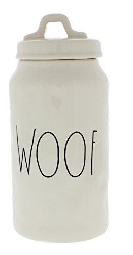 Rae Dunn Magenta Ceramic WOOF Pet Canister