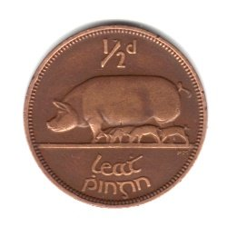 1943 Ireland Half Penny Coin KM#10 - Sow with Piglets