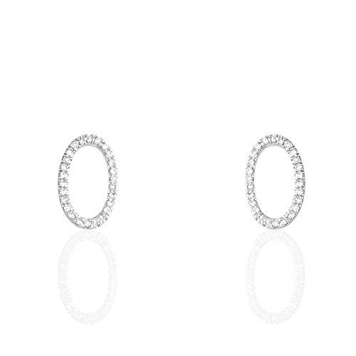 HISTOIRE D'OR - Boucles d'Oreilles Puces Or Blanc - Femme - Or blanc 375/1000