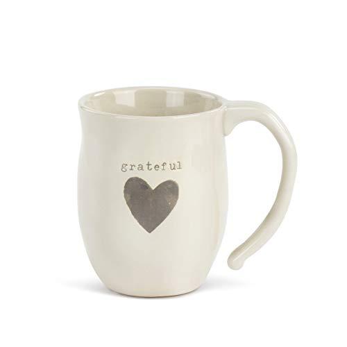 (Grateful Heart Grey Cream 12 ounce Ceramic Stoneware Inspirational)