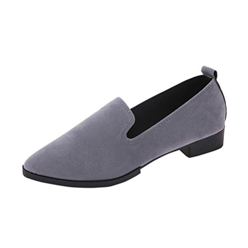 Byste Women Flat Pointed Shoes, Loafer Ladies Casual Scrub Shoes Solid Slip Sandals (37, Gray)