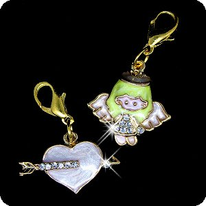 Enameled Pendant Angel (PURELY CHARMING Enameled Pet Charm / Pendant with Handset Swarovski Crystals - Little Angel & Arrowed Heart Set)