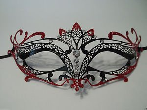 [Black Red Crystal Crown Laser Cut Venetian Mask Masquerade Prom Metal Filigree] (Bulk Venetian Masks)