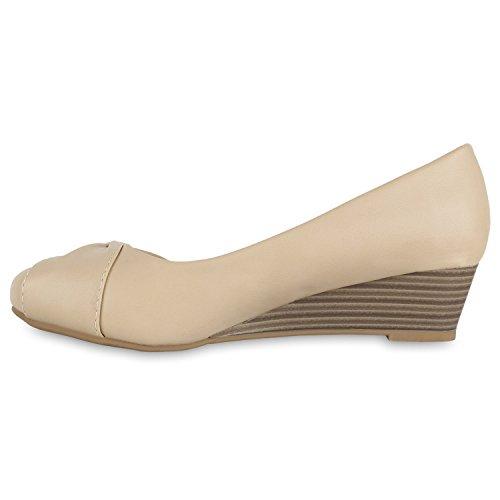 af157b0e341b1d Stiefelparadies Klassische Damen Pumps Keilabsatz Keilpumps Wedges Schuhe  Flandell Creme ...