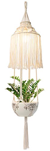 Mkono Macrame Plant Hanger Indoor Lantern with Hanging Planter Pendant Light Shade Cotton Rope Boho Home Decor, 51 Inch (NO Light Included)