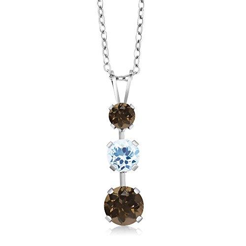 Gem Stone King 1.56 Ct Round Brown Smoky Quartz Sky Blue Topaz 925 Sterling Silver 3 Stone Pendant ()