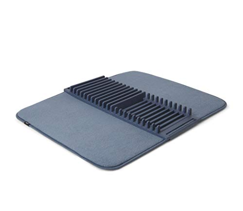Umbra UDRY Rack and Microfiber Dish Drying Mat-Space-Saving Lightweight Design Folds Up for Easy Storage, Large, Denim