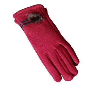 Aland Women Warm Full Finger Touch Screen Gloves Bicycle Mittens Xmas Thick Gift Touch Screen Ladies not Down Velvet Plus Velvet Thickening Autumn and Winter Gloves Cute Wine Red ()