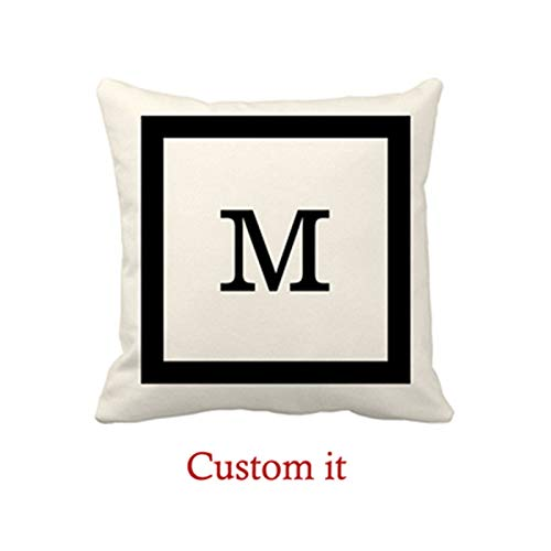 Goldaisy Modern Classic Ivory and Black Square and Monogram Outdoor Pillow Covers 16 x 16inches -