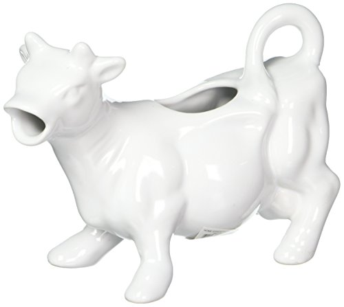 Home Essentials and Beyond Brights Stoneware Cow Creamer 67593 8 Ounces White - Cow Pitcher Creamer