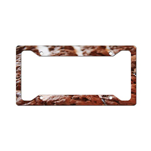 - Custom License Plate Frame Food Brown White Style J Aluminum Cute Car Accessories Wide Top Design Only One Frame