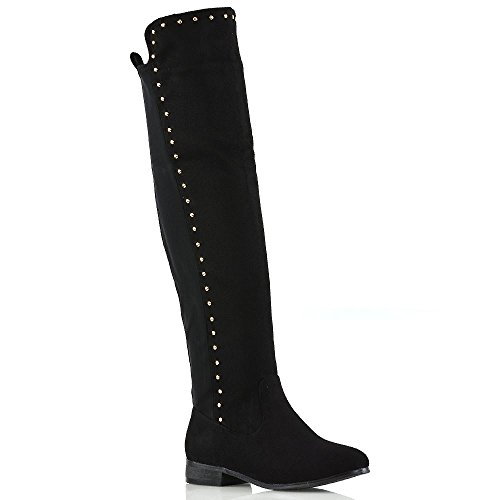 (ESSEX GLAM Over The Knee Boots Black Faux Suede Gold Stud Trim Stretchy Casual Flat Boots 10 B(M))