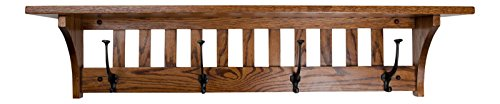 "Wall Mounted Mission Coat Hat Rain Sports Rack with shelf Mission Quartersawn Oak Wood 42"" with 4 wrought iron hooks L x by Rooms Organized (Michaels Cherry) ()"
