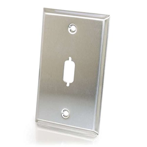 (C2G 37100 VGA or DB9 D-Sub Port Single Gang Wall Plate, TAA Compliant, Stainless Steel)