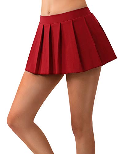 (MYIFU Women Sexy Role Play Pleated Mini Skirt Solid Ruffle Lingerie Sleepwear (Jujube red,)