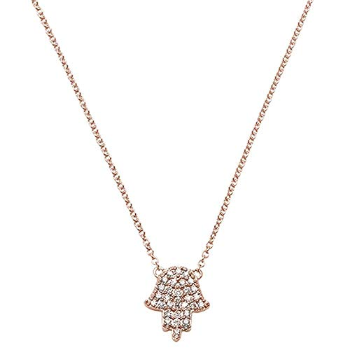 14K Gold, White Gold or Rose Gold 0.11 cttw Diamond Hand Of Hamsa Chai Pendant Necklace (14, 16, 18