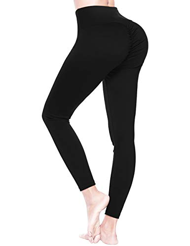 FOUMECH High Waist Yoga Pants for Women-Scrunch Ruched Butt Leggings-Tummy Control Butt Lifting Stretchy Workout Booty Tights Black ()