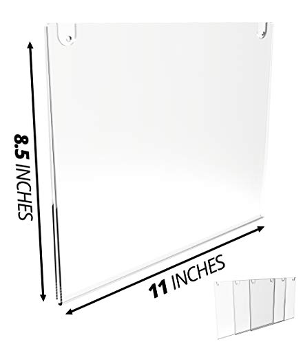 (Mammoth Thick & Durable Acrylic Paper Sign Holder with Screws and Adhesive Tape for Wall Mount, for US Letter 8.5 x 11 Inches, 3 Pack (Landscape 3 Pack))