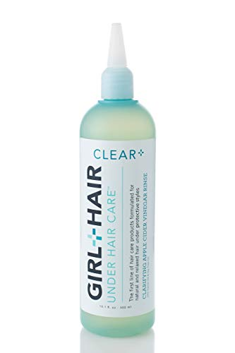 Girl+Hair Natural Hair Products, Clear Plus Apple Cider Vinegar Clarifying Hair Rinse, with ACV & Rice Water, 10.1 fl.oz./300 ml