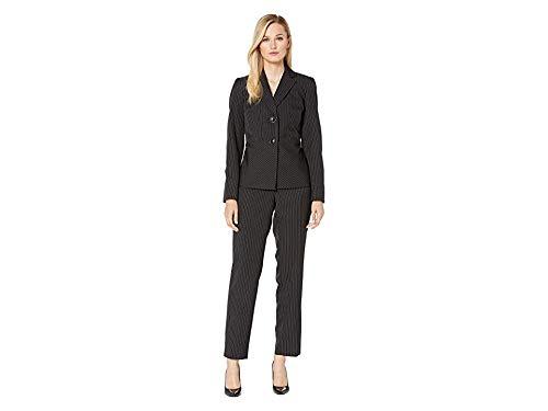 Le Suit Women's 2 Button Notch Collar DOT Pinstripe Pant Suit, Black/White 12