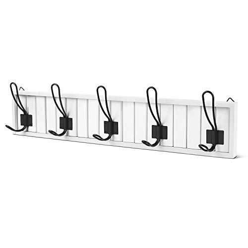 Flexzion Hook Rack Organizer Decorative Wall Mounted White Wood & 5 Black Metal Dual Coat Hooks Utility Entryway Rack for Coat, Scarf, Bag, Towel, Key, Cap, Cup, Hat Bathroom Towel Hanger Organizer