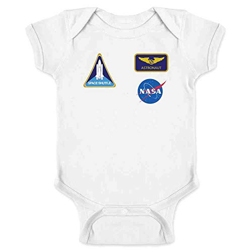 Pop Threads NASA Approved Astronaut Uniform Patches Costume White 6M Infant Bodysuit]()