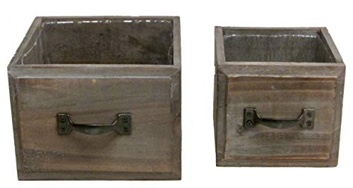 Admired By Nature ABN5E048-BR Set of 2 Stained Wood Medium and Small Drawer Planter Box Style pots w/Hard Liner, 048-BR