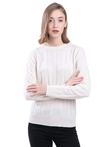 - LEBAC Women's 100% Cashmere Crew Neck Sweater Cable Knit Pullover Off White