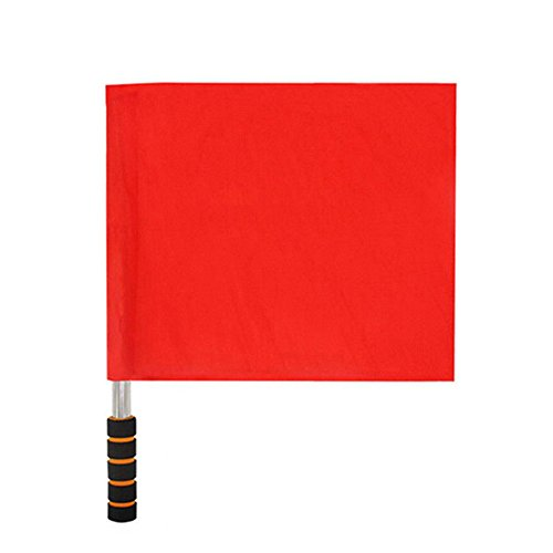 (HEART SPEAKER Sports Match Soccer Referee Football Linesman Training Stainless Steel Flag (Red))