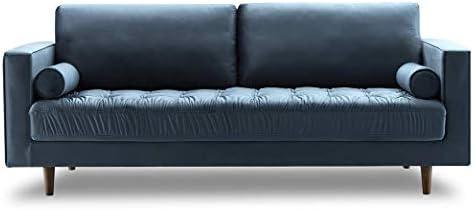 Bente Tufted Velvet 3-Seater Sofa, Light Blue